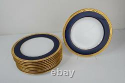 Copeland Spode Cobalt Blue Gold Encrusted Dinner Plates Set 10 -10 1/4D Antique