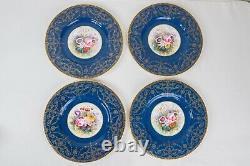 Copeland Spode Ovington Bros R Woods Cobalt Blue Gold Dinner Plates Set of 10