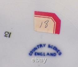 Country Scenes Flow Blue Plate England Church Village Antique Porcelain 9 Inch