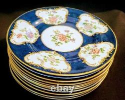 Crown Staffordshire 11 Dinner Plates Blue Ground with Enamel Floral decoration