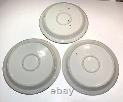 Dansk Brown Mist Linden Blue Set of 3 Dinner Plates Vintage MCM Danish