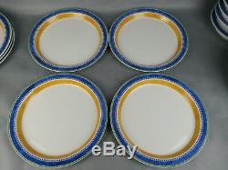 Dansk Set 11pc Dinner Plate Set Dansk Kobenhavn Bistro Blue Yellow 10.5 Inch