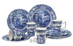 Dinnerware Set 12Pc Circle Dinner Plate Mug Dishes Blue Italian Dinning Ware Set