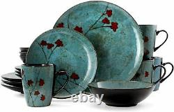 Elama Floral Accents 16-piece Stoneware Dish Dinnerware Set Service For 4