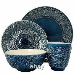 Elama Petra 16-piece Stoneware Dinnerware Set Dinner Plates Bowls Mugs Gift