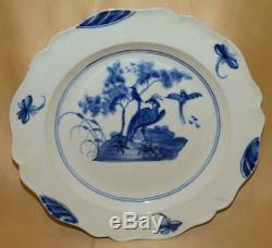 English Creamware Handpainted Blue Birds & A Tree Dinner Plate 1780-1800