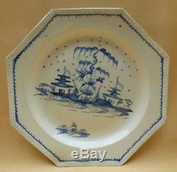 English Creamware Handpainted Blue Chinese Pagoda Scene Dinner Plate 1 1780-1800