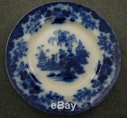FLOW BLUE Oriental Stone J&G Alcock SCINDE DINNER PLATES Set of 5 10 1/2