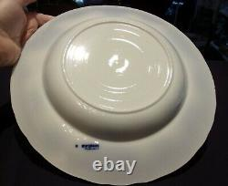 FOUR (4) FLOW BLUE TRANSFERWARE 10 1/2 DINNER PLATES China DISHES VINTAGE