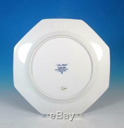Fitz & Floyd SET (6) Pin Stripe Blue Porcelain 10+ Dinner Plates Retired EXCL