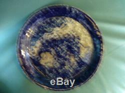 Four Vintage Bennington Vermont Potters Blue Agate 10 1/2 Dinner Plates 1660 ya