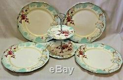 Grace Porcelain Dinner Plates & Server White Blue & Pink Floral Set of Four New
