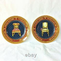 Gucci Set 2 Chair Plates 1 Red 1 Green Dessert Salad Wall Hang 8.25d Rich Color