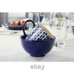 HDC Rosaline 16-Piece Hand-Decorated Twilight Blue Stoneware Dinnerware Set
