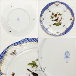 HEREND Rothschild Bird Blue Border Service Plate Motif Dinner plate set of 2 F/S
