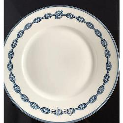 HERMES Dinner Plate Chaine D'Ancre Blue Tableware Dish 2 set Porcelain New 11 in