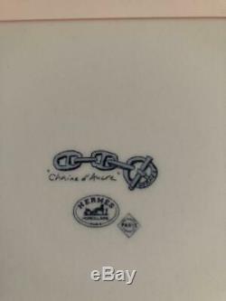 HERMES Paris Authentic Plate Chain D'ancre Blue Ashtray Porcelain NEW