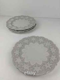 HTF Arte Italica Set of 4 Merletto Dinner Plates Grayish Blue Creme