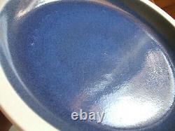 Heath Ceramics Opal Blue Rim Shape 11.5 Dinner Plates 4pc Moonstone Pottery