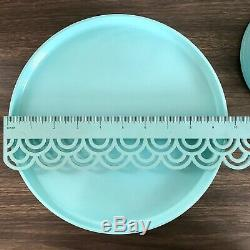 Heller Massimo Vignelli 12 RARE Light Blue Aqua Melamine Set Plates Dinner Salad