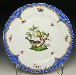 Herend Hungary Rothschild Bird Pattern 10.25 Dinner Plate Blue Border #1524 (b)