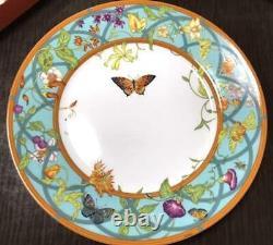 Hermes Porcelain Siesta island Dinner Plate Tableware Blue Ornament Floral New