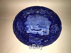 Historical Staffordshire Dark Blue Dinner Plate Ship Cadmus Ca. 1825