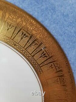 Hutschenreuther 12 Powder Blue Rim Gold Encrusted Presentation Dinner Plates VGC