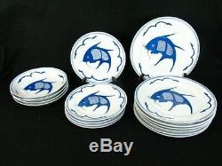 Jingdezhen Zhi Rare Koi Fish Cobalt Blue Salad Dinner Plates and Soup Bowls