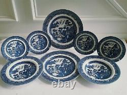 Johnson Brothers Bros Blue Willow 12pc Dinner Salad Dessert Plates Soup Bowls