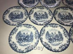 Johnson Brothers Coaching Scenes Blue Set of 13 10 Dinner Plates EUC