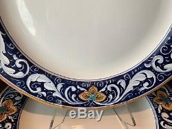 L'Antica Deruta Rameggi Italian Dinner Plates 11 1/4 Dia Set of 6 Blue Yellow
