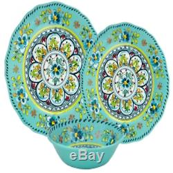 Le Cadeaux Madrid Turquoise Dinner Salad Plates Cereal Bowls 12-Piece Dinnerware