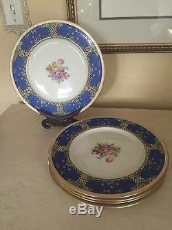 Lenox 1830 Dinner Plates 1930's Enamel Flowers Art Deco Royal Blue Set Of 5