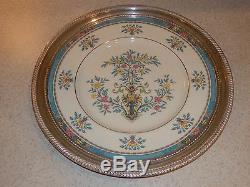 Lenox China Blue Tree Dinner Plate Sterling Rim Gold Mark 12 1/4