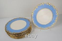 Lenox Essex Cobalt Light Blue Dinner Plates 10 5/8 Set of 12 FREE USA SHIPPING