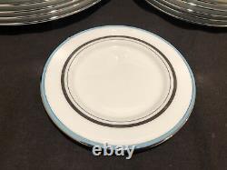Lenox Kate Spade Library Lane Aqua Blue 22 Piece Dinner Salad Bread Plate Saucer