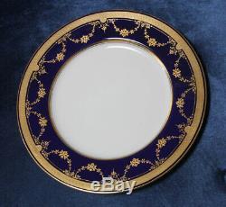 Lenox Raised Gold Encrusted Cobalt Dinner Plate 10 #1830/b-10 Dish Clean Shape