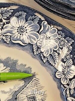 Liberty Blue Staffordshire Dinner & Dessert Plates & Bowls Monticello 24 pc Set
