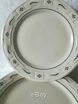 Longaberger Pottery Set Of 8 Woven Tradition Classic Blue Dinner Plates 10, USA