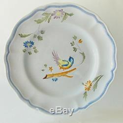 Longchamp French Faience Art Pottery Perouges Pattern 2 Dinner 2 Salad Plates