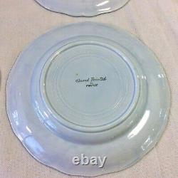 Longchamp Printemps French Set 7 Dinner Plates 10.5 Porc H Paint Blu Yel Floral