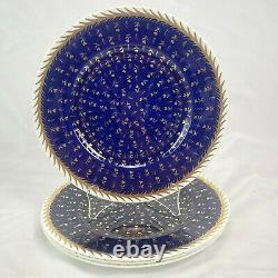 Lot Of 4 Wedgwood St James 10-5/8 Dinner Plates Cobalt Blue Gold Trim Rare