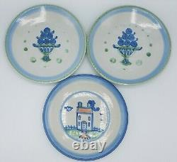 Lot of 14 M. A. Hadley Pottery, Bouquet, Ships & Whales, Country Scene Blue