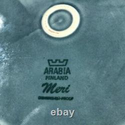 Lot of 4 Arabia Finland Meri 10 Inch Dinner Plate Blue Brown MCM See Photos