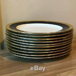 Lovely Set of 10 Vintage Coalport Cobalt Blue & Gold Dinner Plates