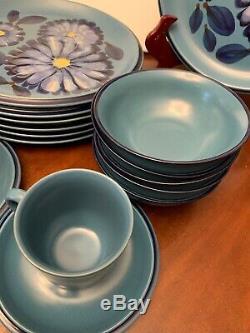 MCM TWILIGHT Noritake Folkstone DISHES Plates 8512 Stoneware Japan UNUSED BLUE