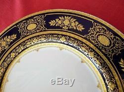 MINTON, England ARGYLE Cobalt Blue H5062 SERVICE DINNER PLATE Encrusted Gold