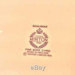 MINTON SHALIMAR Set 4 Dinner Plates 10.75 D Blue Floral Trim Bone China ENGLAND