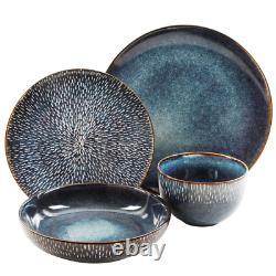 Matisse 16-Piece Contemporary Cobalt Earthenware Dinnerware Set (Service for 4)